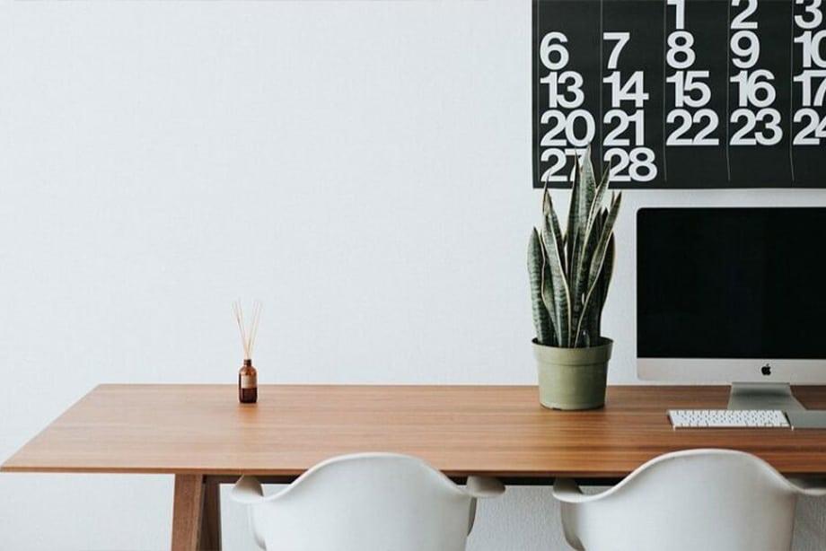 bureau en entreprise rangé et ordonné avec une plante brâam et un ordinateur