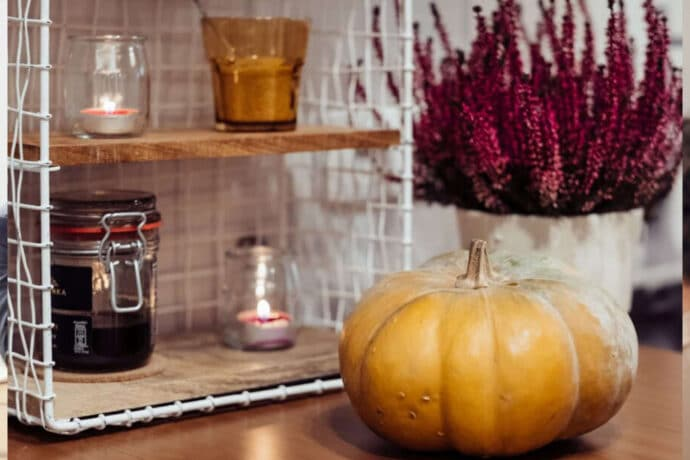 citrouille posée au 1er plan avec un bouquet de lavande en arrière plan