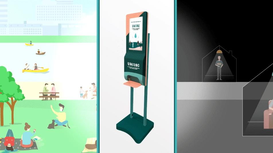 distributeur de gel hydroalcoolique sans contact avec écran connecté wado umano