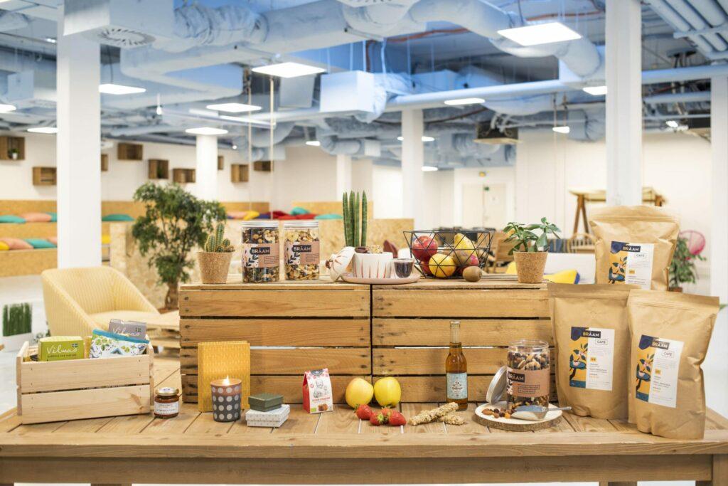 gamme de produits braam présentée fruits, snacks, plantes