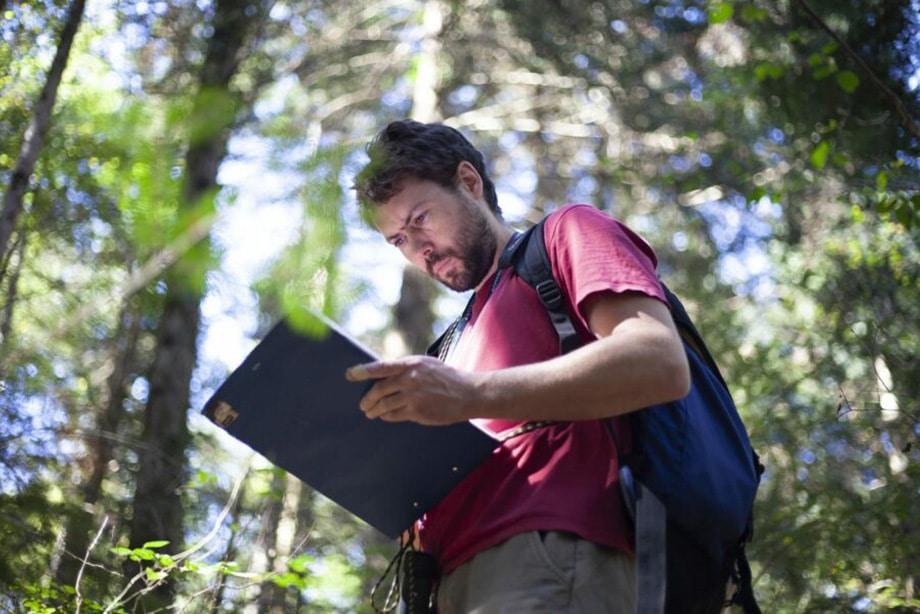 homme au t-shirt bordeau, portant un sac à dos, lisant un rapport dans la forêt