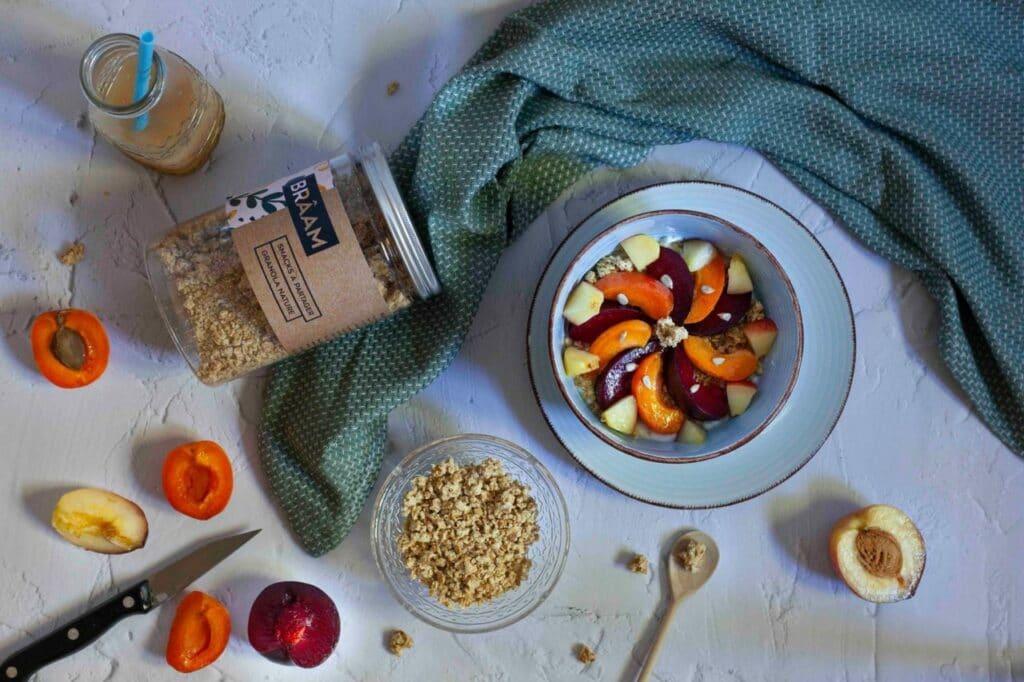 bocal de snack braam fruits bol petit dejeuner