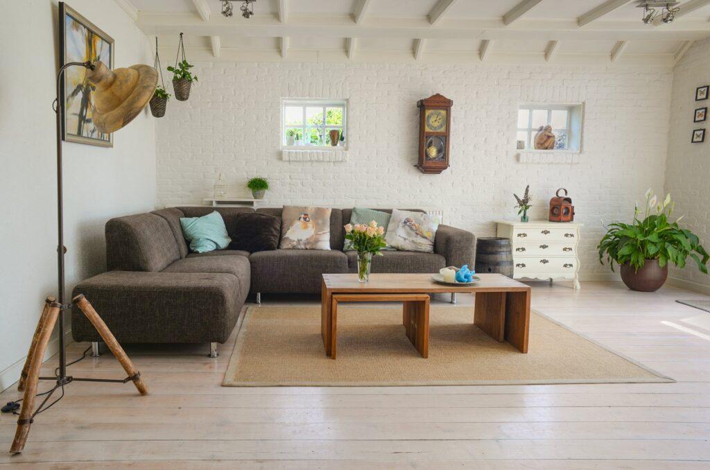 salon meublé avec un canapé, une table de seconde main